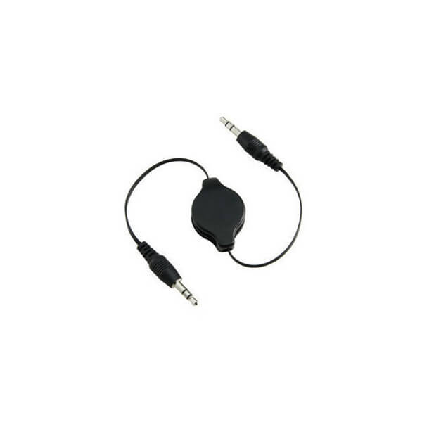 3.5mm Retractable Stereo Audio Aux Cable Black